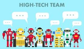 Grupo de robôs abstratos diferentes que estão junto e bolha do discurso no fundo azul no estilo liso equipe da Alto-tecnologia Imagens de Stock Royalty Free
