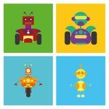 Grupo de robôs bonitos diferentes isolados Fotografia de Stock