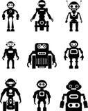 Grupo de robôs da silhueta Fotos de Stock Royalty Free