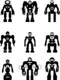 Grupo de robôs da silhueta Fotografia de Stock Royalty Free