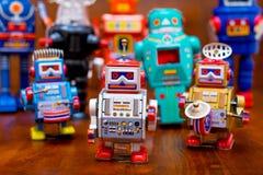 Grupo de robôs do vintage Imagem de Stock