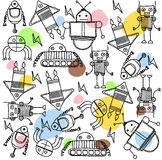 Grupo de robôs dos desenhos animados da coloração Fotografia de Stock