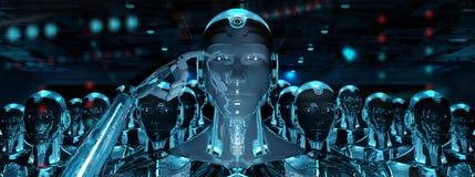 Grupo de robots masculinos que siguen la representación del ejército 3d del cyborg del líder ilustración del vector