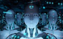 Grupo de robots masculinos que siguen la representaci?n del ej?rcito 3d del cyborg del l?der libre illustration
