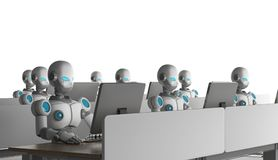 Grupo de robots usando los ordenadores en el fondo blanco artificial ilustración del vector