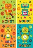 Grupo de robotsset colorido isolado dos cartazes com parte 1 dos robôs Imagens de Stock