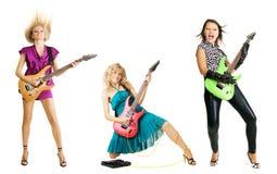 Grupo de rock da menina fotografia de stock royalty free