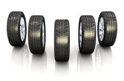 Grupo de rodas de carro Imagem de Stock