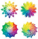 Grupo de rodas de cor/círculos/de cores arco-íris das flores ilustração do vetor