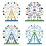 Grupo de rodas de ferris coloridas no fundo branco, illust do vetor Imagens de Stock