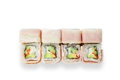 Grupo de rolos de sushi isolados no branco Imagem de Stock