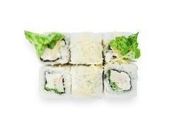 Grupo de rolos de sushi isolados no branco Fotos de Stock