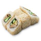 Grupo de rolos de sushi isolados no branco Imagem de Stock Royalty Free