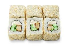 Grupo de rolos de sushi isolados no branco Foto de Stock Royalty Free