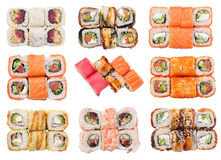 Grupo de rolos frescos do sushi isolados Fotos de Stock Royalty Free