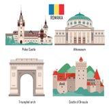 Grupo de Romênia de ícones do marco ilustração do vetor