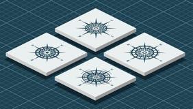 Grupo de rosas de compasso isométricas ilustração royalty free