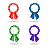 Grupo de rosetas do vetor Decoração das fitas vermelhas, azuis, verdes, violetas Fotos de Stock Royalty Free