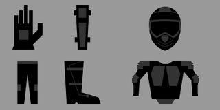 Grupo de roupa da proteção do cavaleiro da motocicleta ilustração stock