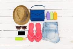 Grupo de roupa do verão Fotografia de Stock
