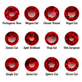 Grupo de rubis vermelhos realísticos com cortes redondos Imagem de Stock