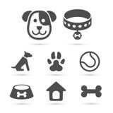 Grupo de símbolo bonito do ícone do cão no branco Vetor Fotografia de Stock Royalty Free