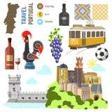 Grupo de símbolo da cultura de Portugal Sentido de Lisboa do curso de Europa ilustração royalty free