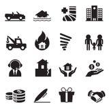 Grupo de símbolo 2 da ilustração do vetor dos ícones do seguro Imagem de Stock Royalty Free