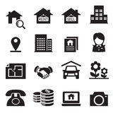 Grupo de símbolo da ilustração do vetor dos ícones dos bens imobiliários Ilustração do Vetor