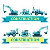 Grupo de símbolo da maquinaria de construção Trabalhos amarelos azuis da terra Veículos da máquina ilustração royalty free