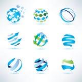 Grupo de símbolo do globo, uma comunicação e ícones abstratos da tecnologia Fotografia de Stock Royalty Free