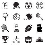 Grupo de símbolo do vetor dos ícones do material desportivo dos princípios da silhueta Fotos de Stock Royalty Free