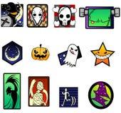 Grupo de símbolo extravagante e extremo de Dia das Bruxas Imagens de Stock