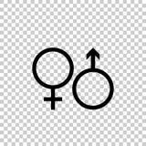Grupo de símbolo masculino e fêmea Engrena o ícone ilustração royalty free