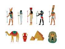 Grupo de símbolos cultural antigo de Egito, deuses e ilustração do vetor da deusa ilustração stock