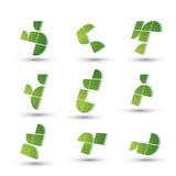 Grupo de símbolos 3d simplista geométrico abstrato, vetor Fotografia de Stock