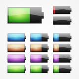 Grupo de símbolos da bateria Fotos de Stock Royalty Free