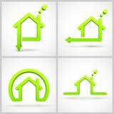 Grupo de símbolos da casa verde Foto de Stock Royalty Free