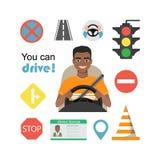 Grupo de símbolos da estrada e de caráter americano do motorista do homem do africano negro Fotos de Stock