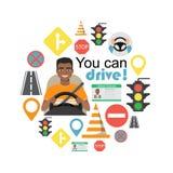 Grupo de símbolos da estrada e de caráter americano do motorista do homem do africano negro Foto de Stock Royalty Free