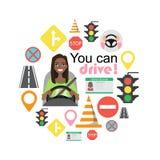 Grupo de símbolos da estrada e de caráter americano do motorista da mulher do africano negro Imagem de Stock