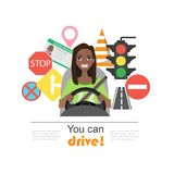 Grupo de símbolos da estrada e de caráter americano do motorista da mulher do africano negro Imagem de Stock Royalty Free