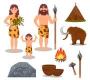 Grupo de símbolos da Idade da Pedra, pessoa primitivo, mammoth, arma, ilustrações pré-históricas do vetor da casa em um fundo bra ilustração do vetor