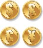 Grupo de símbolos da moeda ilustração royalty free