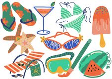Grupo de símbolos das férias de verão, Flip Flops, biquini, cocktail, óculos de sol, picolé, Chaise Longue, vetor da estrela ilustração royalty free