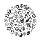 Grupo de símbolos das religiões do mundo de ícones no círculo eps10 Imagem de Stock