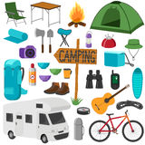 Grupo de símbolos de acampamento do equipamento Coleção da caminhada Fotografia de Stock Royalty Free