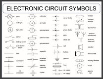 Grupo de símbolos de circuito eletrônico ilustração do vetor