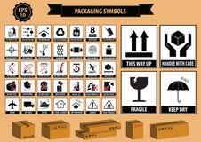 Grupo de símbolos de empacotamento Imagens de Stock Royalty Free