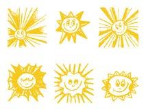 Grupo de símbolos de Sun. Foto de Stock Royalty Free